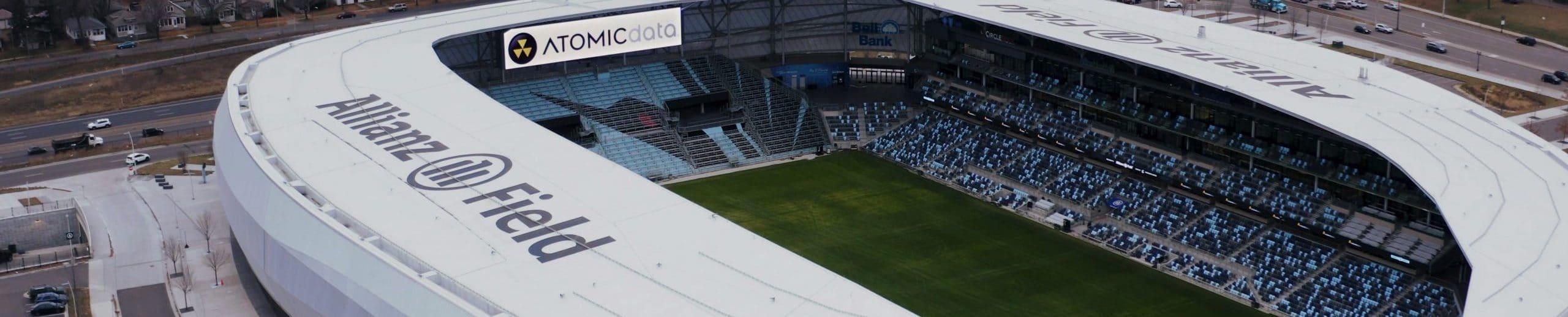 Allianz Field with Atomic Data Logo