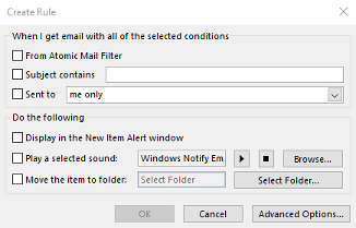 Outlook Rules Dialog Box