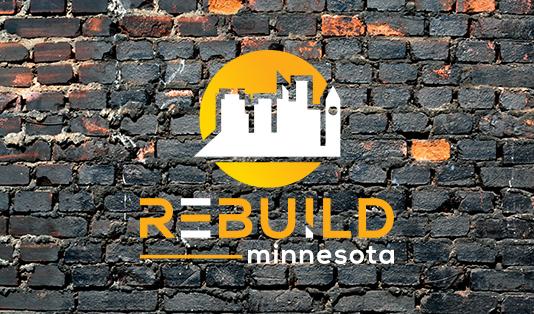 RebuildMinnesota Logo against brick wall background